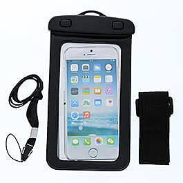 Black Waterproof Phone Carrying Pouch with Arm Strap and Lanyard