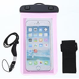 Pink Waterproof Phone Carrying Pouch with Arm Strap and Lanyard